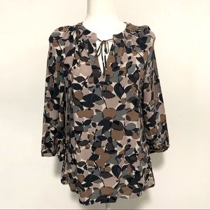 Boden Viscose Top in Brown, Blue, and Grey